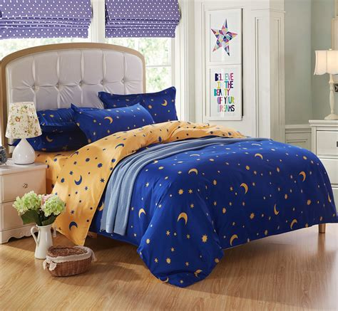 king bedding bed sets for 4 5 pcs moon bright blue and yellow quilt - Queen Comforter Sets For Kids