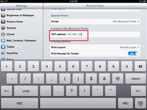 point  sale ipad app star tsp  pos printer setup