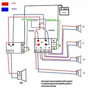 Mono Amp To Sub Plus 4 Channel Amp To Speakers Wiring Wiring Diagram