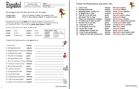 Spanish Gustar Verbs And Indirect Object Pronouns Worksheet By Suesummersshop Teaching