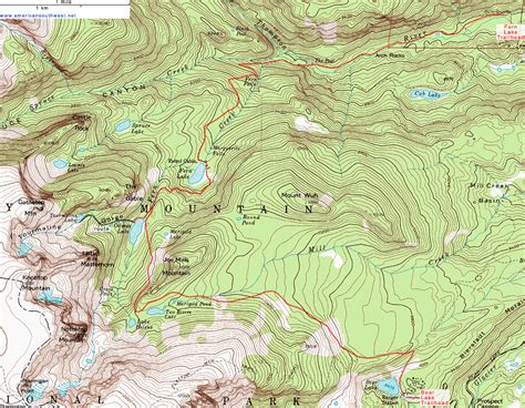 Florissant Fossil Beds by Topographic Map Of The Fern Lake Trail Rocky Mountain