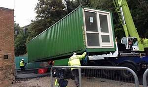 Shipping containers converted to provide temporary ...