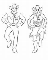 Coloring Pages Dance Country Dancers Dancing Square Cowgirl Western Printables sketch template