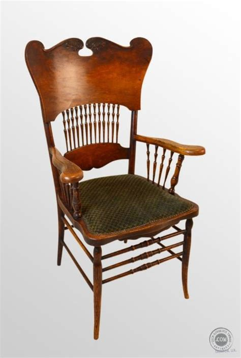 antique oak high back reading fireside chair country