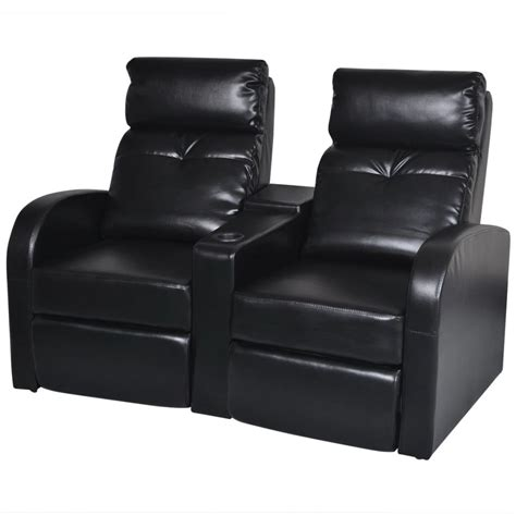 Two Seat Recliner Sofa by Artificial Leather Home Cinema Recliner Reclining Sofa 2