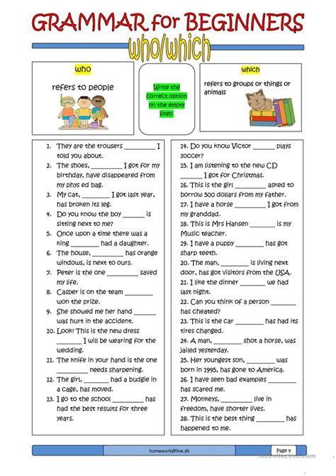 grammar  beginners whowhich english esl worksheets