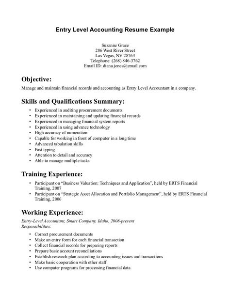 entry level accounting resume examples resume job