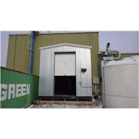 chemical storage shed  welded steel floor   containment  perimeter  skids insulat