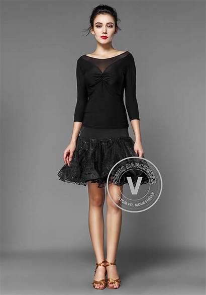 Half Sleeve Skirt Crepe Latin Organdy Shinning