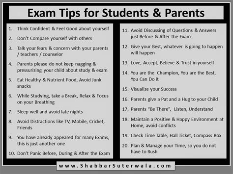 exam tips  students  parents    inspired