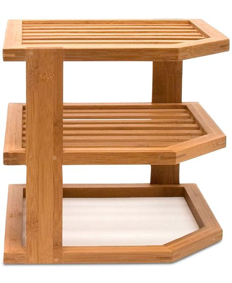 lipper international bamboo  tier corner shelf reviews home macys bamboo shelf corner