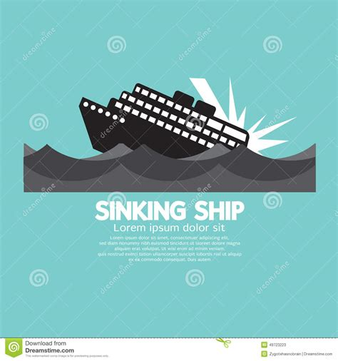 Sinking Boat Vector by Sinking Ship Black Graphic Stock Vector Image 49723223