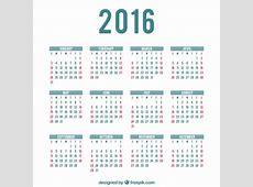 2016 Modelo de calendário Baixar vetores grátis