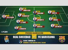 Las posibles alineaciones del Real SociedadBarça LaLiga