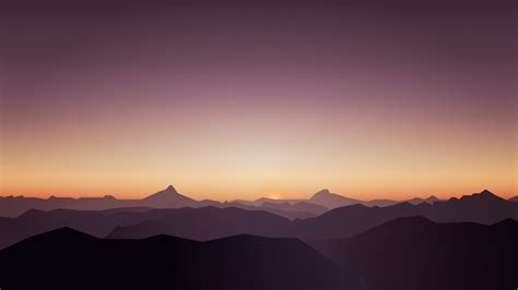 wallpaper mountains silent sunset minimal  nature