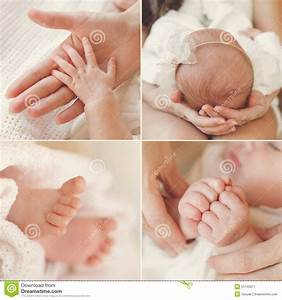 Collage Of A Newborn Baby In His Mother's Arms. Stock ...