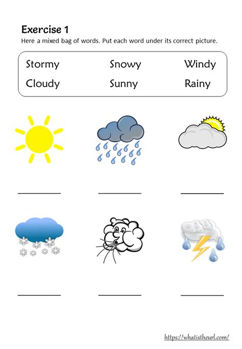 weather vocabulary  worksheets  grade   home