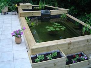 Fabriquer un bassin hors sol en bois for Bassin de jardin bois
