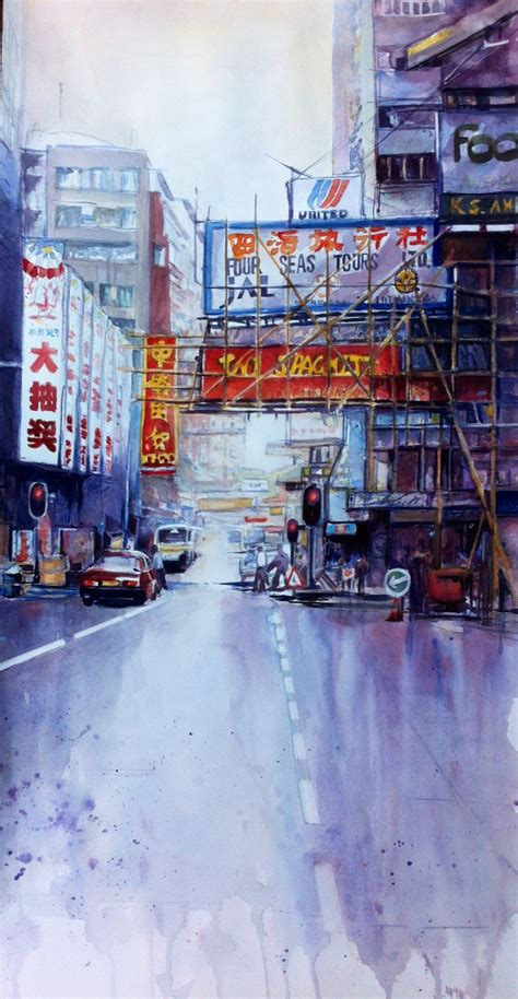 hong kong street joneile emery watercolor joneilesart