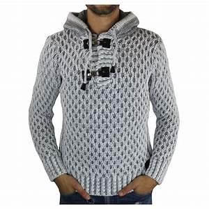Gros Pull Laine Homme : pull laine homme capuche gris ~ Louise-bijoux.com Idées de Décoration