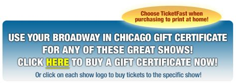 gift certificates broadway  chicago