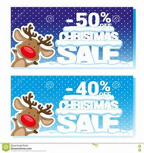 Poster, Christmas, Sale, With, Funny, Santa, U0026, 39, S, Deer, And, Text, From, Big, Letters, On, Snow, Cartoon, Style
