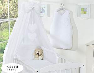 Ciel De Lit Berceau : ciel de lit b b en tissu blanc coeurs ~ Teatrodelosmanantiales.com Idées de Décoration