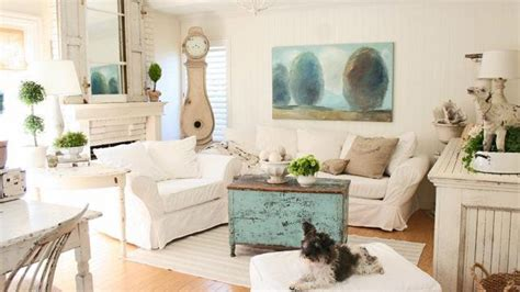 distressed  pretty white shabby chic living rooms