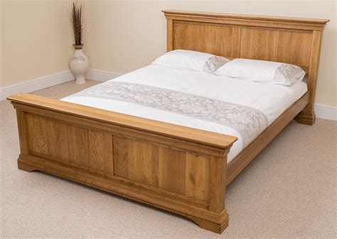 French Rustic Solid Oak Wood Double Bed Frame Bedroom