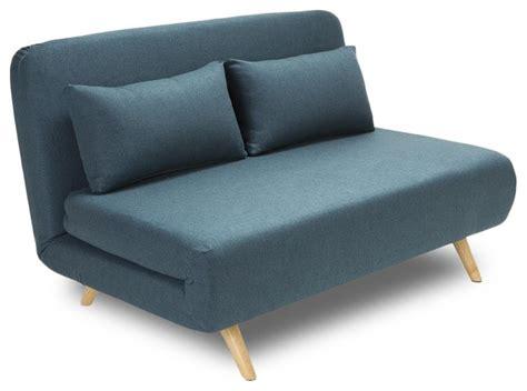 canapé lit scandinave canapé convertible modulable 2 places couleur bleu