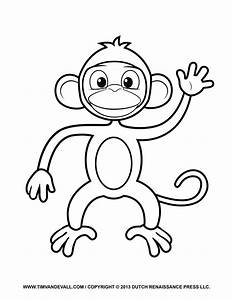 Printable Monkey Clipart Coloring Pages Cartoon U0026 Crafts