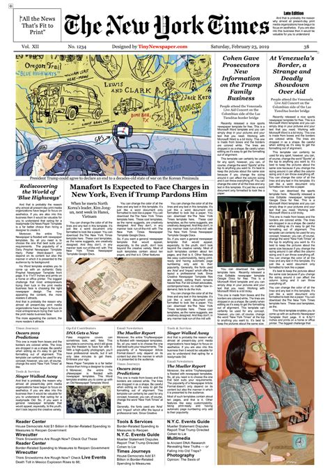New York Times Newspaper Template Google Docs Download ...