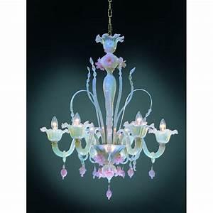 Six Arm Pink Opeline Italian Murano Glass Flower