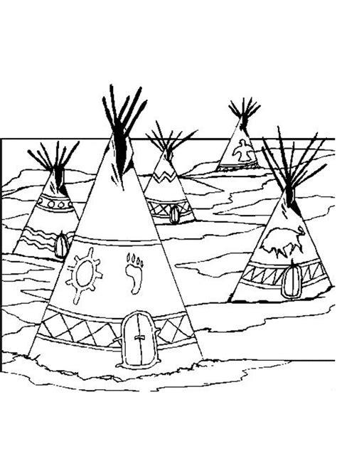 coloriage indien village