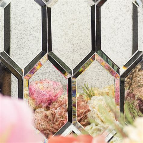 shop for beveled gray hexagon polished glass tile at
