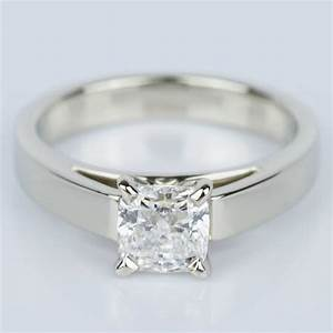 Cathedral Solitaire Cushion Diamond Engagement Ring 1 04 Ct