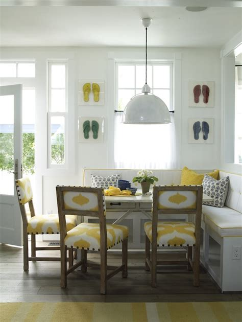 built in banquette cottage dining room coastal living