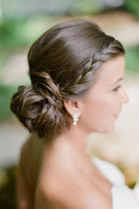summer wedding bridal bride updo side braid low bun