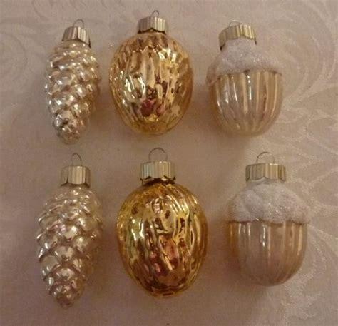 martha stewart white christmas ornaments lot of 6 glass mse martha stewart tree ornaments pinecone acorn walnut