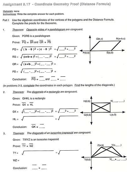 Geometry Distance Formula Worksheet