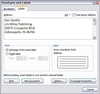 how to create labels with mail merge in word 2007 dummies