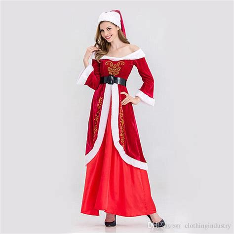 2017 red christmas dress sexy women santa clothes xmas