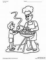 Coloring Son Father Grill Pages Drawing Getcolorings Getdrawings Printable sketch template