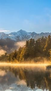 Wallpaper autumn, fog, forest, lake, mountains, 4k, Nature