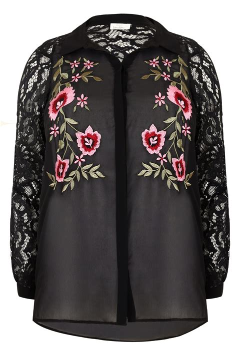 Embroidered Sleeve Shirt yours black floral embroidered shirt with lace