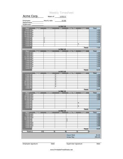 hourly timesheet weekly printable time sheets