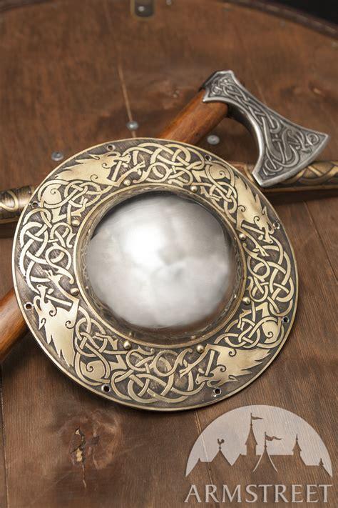 viking shield boss wolves   brass