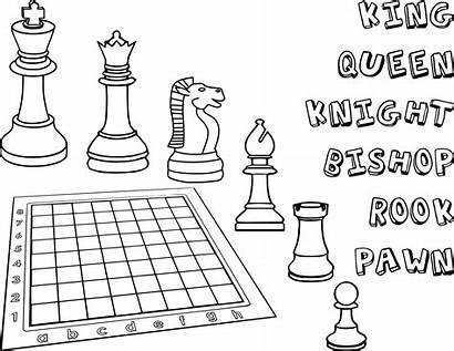 Chess Coloring Pieces Ajedrez Para Colorear Pages