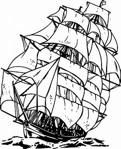 Pirate Ship Cartoon Black And White