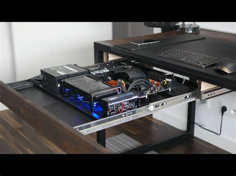 computer built into desk pc built into desk drawer home theater and gaming